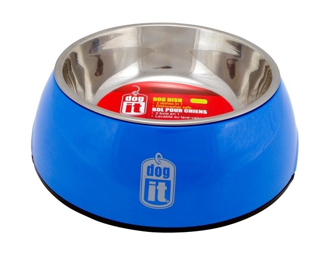 Dogit 2-in-1 Dog Dish, Small-Blue. Holds 350 mL (11.8 fl oz) [73542]