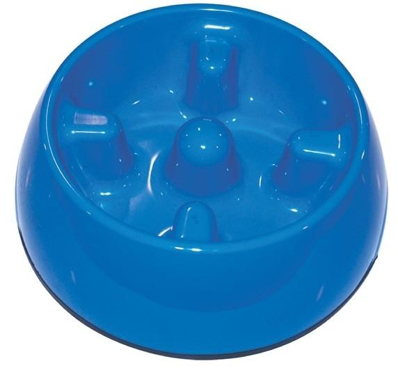 Dogit Go Slow Anti-Gulping Dog Dish, Blue, Medium (600ml/20.2 fl oz) [73716]