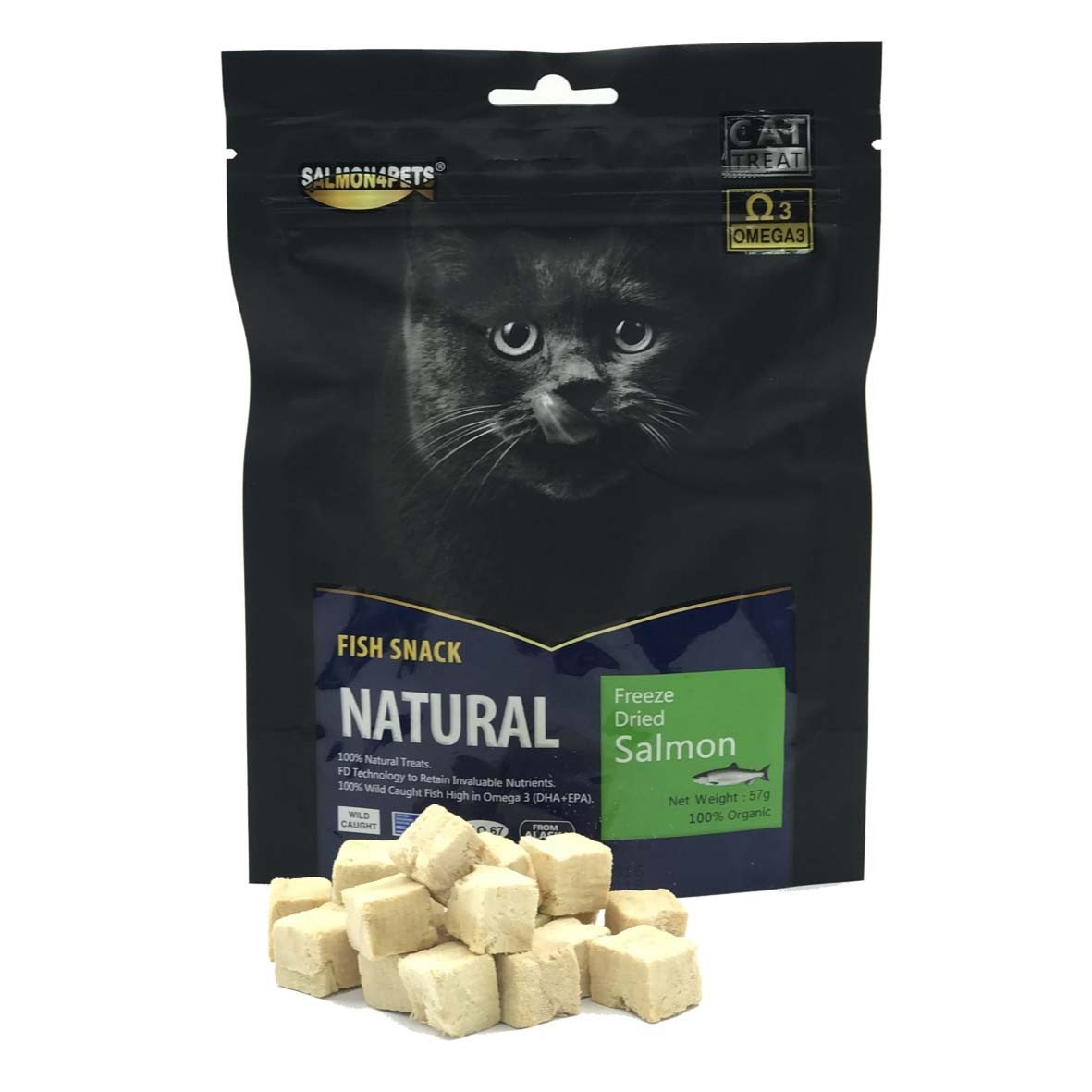Salmon4Pets Cat Treats Freeze Dried Salmon - 57g (F51008)