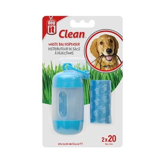 Dogit Bag Dispenser - 2 Rolls/20 Bags - 29.5 x 23 cm (11.6 x 9 in) - Blue [90420]