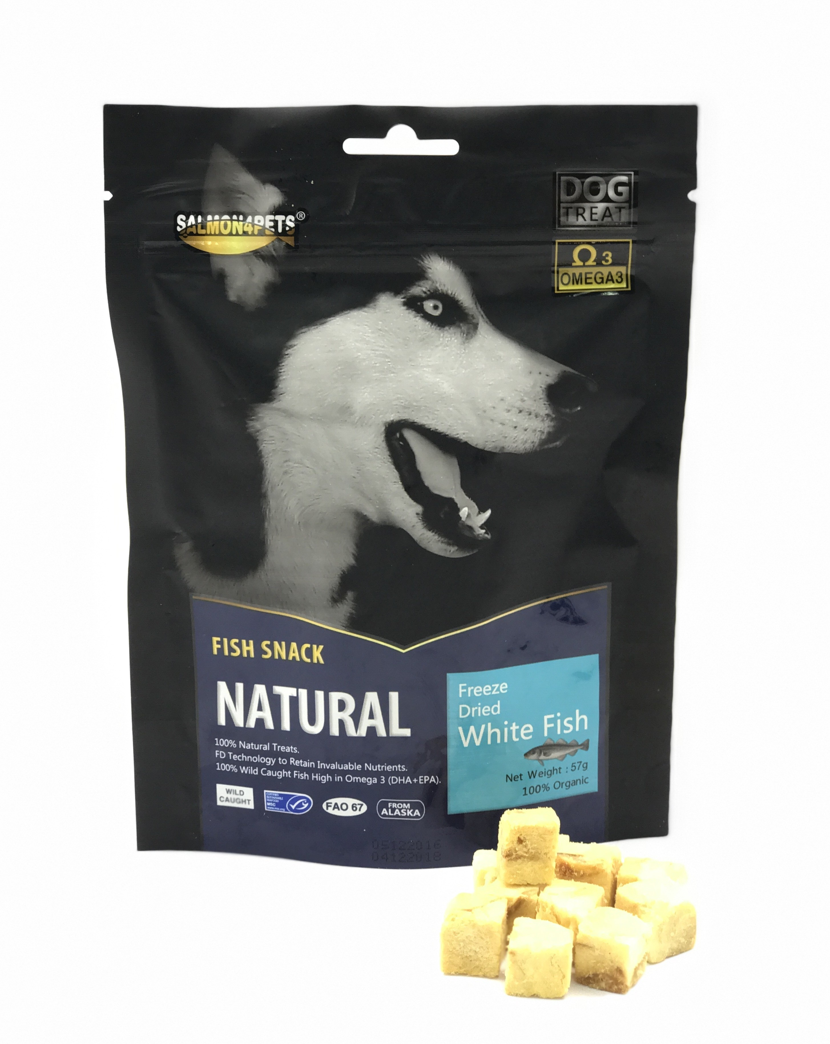 Salmon4Pets Dog Treats Freeze Dried White Fish - 57G (F53507)