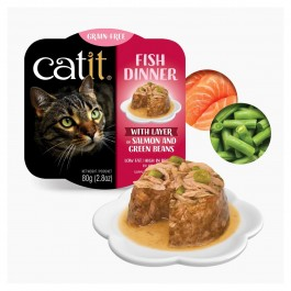 Catit Fish Dinner with Salmon & Green Beans for Cats 80g (44712)