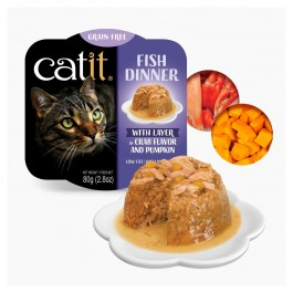 Catit Fish Dinner with Crab Flavour & Pumpkin for Cats 80g (44716)