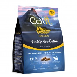 Catit Gold Fern Gently Air-dried Lamb & Mackerel with Green-Lipped Mussel Adult Cat Food 400g (44727) NEW