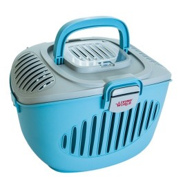 "LIVING WORLD PAWS2GO SMALL PETS CARRIER - GREY/BLUE - 36 cm L x 28 cm W x 25 cm H (14"" x 11"" x 9.8"") [60898]"