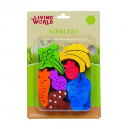 Living World Nibblers Wood Chews Fruit Veggie Mix 14pc (61467)