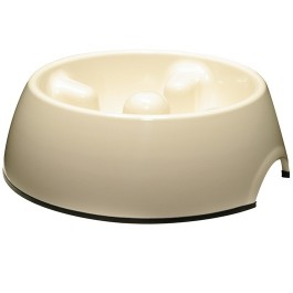 Dogit Go Slow Anti-Gulping Dog Dish, White, Large (1.2L/40.5 fl oz) (73733)