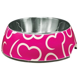 Dogit Style 2-in-1 Dog Dish- Pink Bones, Small (350ml/11.8 fl oz) [73730]