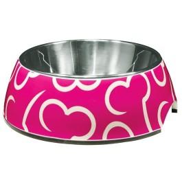 Dogit Style 2-in-1 Dog Dish- Pink Bones, Small (350ml/11.8 fl oz) (73730)