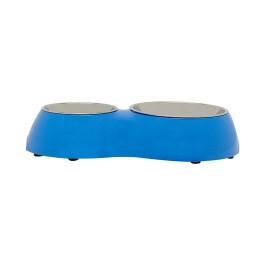 Dogit Dog Double Diner-Blue. Capacity: 1 x 350ml (11.8 fl oz) and 1 x 160mL (5.4 fl oz) (73758)