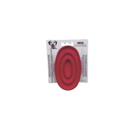 Le Salon Essentials Dog Rubber Curry Brush with Loop Handle, Red [91246]