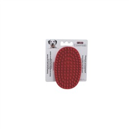 Le Salon Essentials Dog Rubber Grooming Brush with Loop Handle, Red (91248)