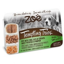 Zoë Tempting Trios Pâté with Tuna, Cuts of Chicken, Sweet Potatoes & Pumpkin - 100 g (3.5 oz) [92952]