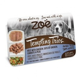 Zoë Tempting Trios Pâté with Chicken, Cuts of Chicken, Carrots & Peas - 100 g (3.5 oz) [92954]