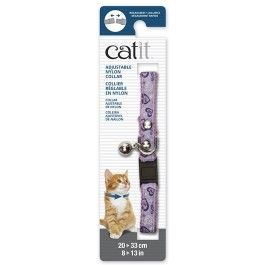 Catit Adjustable Breakaway Nylon Collar with Rivets Pink with Purple Hearts 20-33cm (55190)