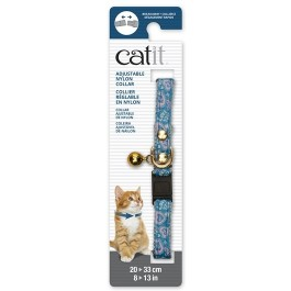 Catit Adjustable Breakaway Nylon Collar with Rivets Blue and Pink Hearts 20-33cm (55191)