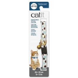 Catit Adjustable Breakaway Nylon Collar with Rivets White with Polka Dots 20-33cm (55192)