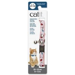 Catit Adjustable Breakaway Nylon Collar with Rivets Pink and White Ladybugs 20-33cm (55195)
