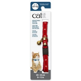Catit Adjustable Breakaway Nylon Collar with Rivets - Red Nautical - 20-33 cm (8-13 in) [55196]