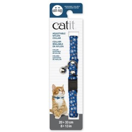 Catit Adjustable Breakaway Nylon Collar with Rivets - Blue with Flowers - 20-33 cm (8-13 in) [55198]