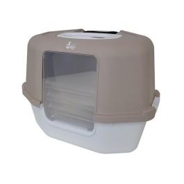 Cat Love Space Saver Corner Hooded Cat Pan w/Detachable bag anchor & carbon filter - Grey (36613)