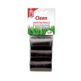 Dogit Waste Bags - 3 Rolls/20 Bags - Black - 29.5 x 23 cm (11.6 x 9 in) [90425]